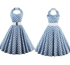 50's Vintage Polka Dot Sleeveless Halter Rockabilly Swing Cocktail Party Dress