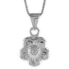 """Sterling Silver Flower Pendant / Charm, Made in Italy, 18"""" Italian Box Chain"""