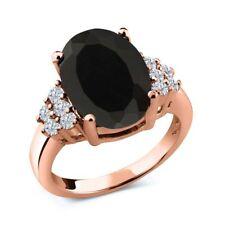 5.33 Ct Oval Black Onyx White Diamond 18K Rose Gold Ring
