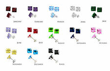 Sterling Silver Square CZ Stud Earrings 3 4 5 6 7 8 mm All Birthstones Avail.
