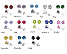 Sterling Silver Round CZ Stud Earrings 2 3 4 5 6 7 8 mm All Birthstones Avail.
