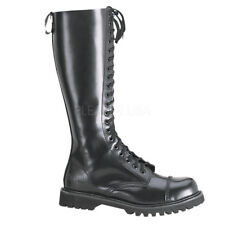 Demonia ROCKY-20 Leather Shoes & Boots Black Leather Biker Military Combat