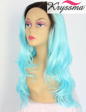 Ombre Synthetic Hair Lace Front Wigs Dark Roots&Blue Natural Wave Heat Safe 20""