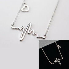 Elegant Women ECG Pendant Chain Choker Chunky Statement Bib Necklace Jewelry New