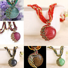 Vintage Retro Millet Chain Crystal Lucky Peacock Charm Pendant Necklace Jewelry