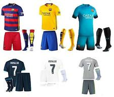 15-16  football kit shirt and short +socks 3-14 years MESSI NEYMAR RONALDO