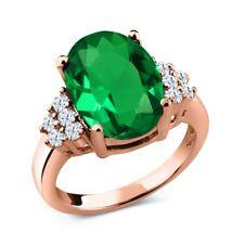 4.40 Ct Green Simulated Emerald White Topaz 18K Rose Gold Plated Silver Ring