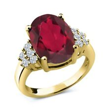 4.33 Ct Oval Red Mystic Quartz White Diamond 18K Yellow Gold Ring