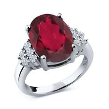 4.33 Ct Oval Red Mystic Quartz White Diamond 18K White Gold Ring