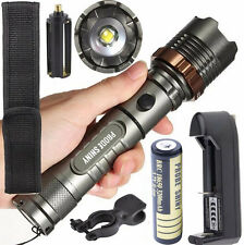 5000LM Tactical Flashlight XM-L T6 LED Zoom Torch Lamp 18650/AAA Battery Charger