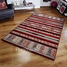 ETHNIC TRIBAL Style Red Beige & Brown Modern Contemporary Easycare Rugs -30%