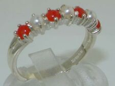 Solid English 925 Hallmarked Sterling Silver Natural Pearl & Coral Eternity Ring