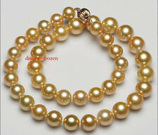 """AAAAA 18"""" 9-12mm Real natural round South sea golden Pearl necklace 14k gold"""