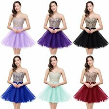 Backless Short Mini Homecoming Tulle Applique Evening Prom Party Cocktail Dress