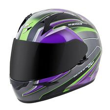 Scorpion EXO-R410 Full Face Helmet Kona Graphic Purple Silver Free Size Exchange