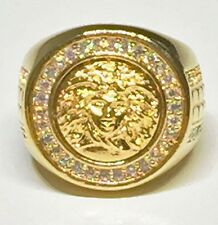 Medusa Versace 24K Gold Coated Iced Out Ring (Size 6)