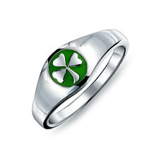 Bling Jewelry Sterling Silver And Green Enamel Shamrock Ring
