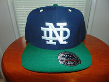 NOTRE DAME MITCHELL & NESS BLUE Green ND FITTED 7 3/8 COLLEGE Football Hat NEW