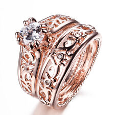 Size 5-9 Women's 7*7mm White Sapphire Band 10Kt Rose Gold Filled Party Rings Set