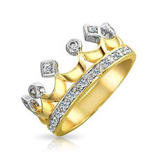 Bling Jewelry Gold Plated CZ Princess Crown Fashion Cocktail Ring