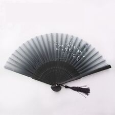 Chinese Anese Folding Hand Held Fan Black Silk Plum Flower Bamboo Pocket