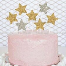 12 Gold Glitter Star Cupcake Toppers Star Birthday Party Decor Handmade S2