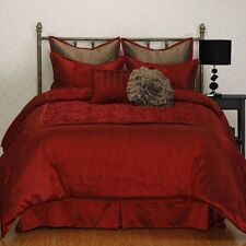 NEW Queen King Bed Red Mocha Brown Solid Faux Silk 8 pc Comforter Set Elegant