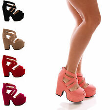 LADIES WOMENS STRAPPY PEEPTOE DEMI WEDGE PLATFORM SANDALS SHOES SIZE 3-8 UK