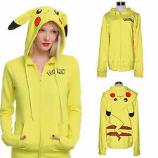 Pokemon Pikachu Hoody Ears Face Tail Zip Up Sweatshirt Hoodie Costume Sportswear