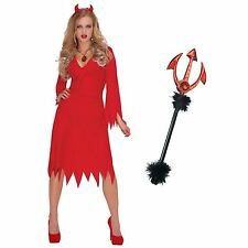 Adult Ladies Sexy Red Hot Devil Halloween Horns Pitchfork Fancy Dress Costume UK