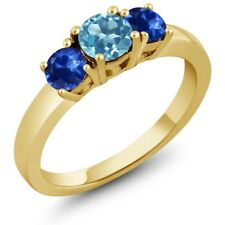 1.22 Ct Round Swiss Blue Topaz Blue Sapphire 18K Yellow Gold Plated Silver Ring
