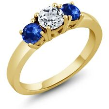 1.22 Ct Round White Topaz Blue Sapphire 18K Yellow Gold Plated Silver Ring