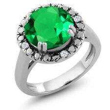 3.50 Ct Round Green Simulated Emerald 925 Sterling Silver Ring