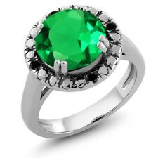 3.51 Ct Round Green Simulated Emerald Black Diamond 925 Sterling Silver Ring
