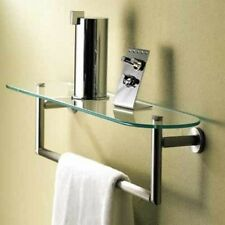 Motiv 0219T&18-15 1.5' Glass Shelf with Towel Bar Satin Nickel