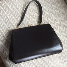Original vintage Dark Brown 1960s leather handbag. Middx.made In England.