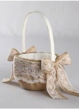 Country Burlap Lace Western Wedding Guest Book Ring Pillow Basket Accessory Set