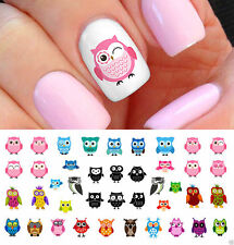 DIY Nail Art Water Decals Transfers Stickers Cartoon Owl Decoration Fashion Nail