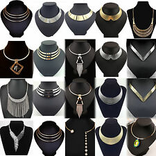 Fashion Charm Metal Chunky Statement Bib Chain Choker Pendant Necklace Jewelry