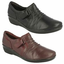 EVERLAY CODA LADIES CLARKS RUCHED RIPTAPE SLIPON FLAT TROUSER CASUAL WORK SHOES