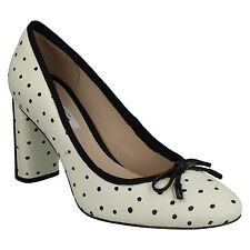 IDAMARIE FAYE LADIES CLARKS SLIP ON FORMAL POLKA DOT LEATHER HEELED COURT SHOES