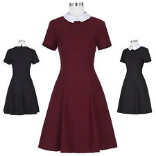 50'S 60'S Retro Vintage Short Sleeve High Stretchy Swing Party Picnic Dress BP ❤