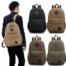 Vintage Unisex Men's Canvas Backpack Laptop Shoulder Bag Travel Camping Rucksack