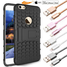 ZINC LIGHTNING CABLE/GLASS SCREEN+DIRT-SHOCK-PROOF CASE FOR APPLE IPHONE 6 PLUS