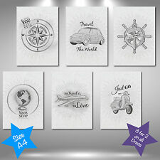 Travel Illustration Sketch Quote - 9 Variations A4 Wall Art Print Picture Decor