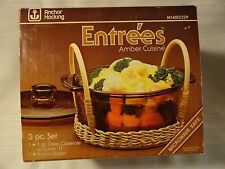 ANCHOR HOCKING FIRE KING ENTREES AMBER CUISINE 3 PC/1 QT./BASKET SET NEW IN BOX
