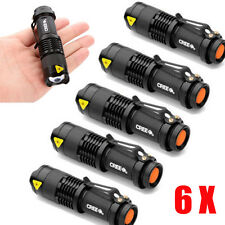 6X Mini CREE Q5 LED Flashlight Torch 7W 1200LM Adjustable Focus Zoom Light Lamp