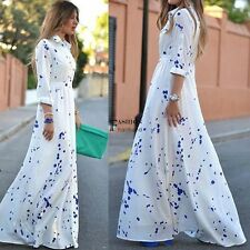 White Fashion Women Chiffon Long Sleeve Polka Dot Long Maxi Shirt Dress New FNHB