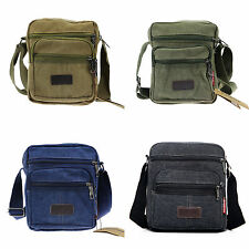Mens Vintage Canvas Leather School Shoulder Bag Satchel Military Messenger Retro
