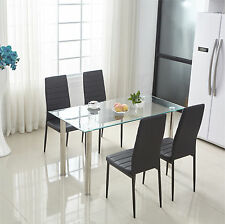 Dining Table And Chairs Set Modern PU Faux Leather Metal Leg Kitchen Dining Room